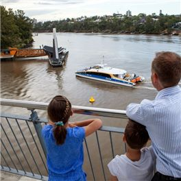Brisbane Ferry Terminal with Arne Nilsen and his kids